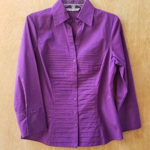 Signature by Larry  Levin Top Purple Button Front